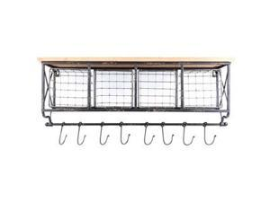 Black Metal & Wood Shelf with Baskets & 8-Hooks