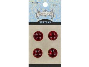 14mm Red Glitzy Gems Round Diamond Buttons