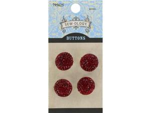 16mm Red Glitzy Gem Circle Buttons with Shank