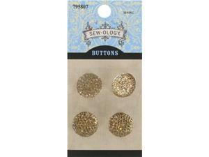 16mm Champagne Glitzy Gem Circle Buttons
