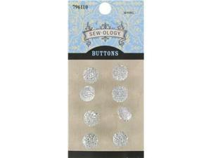 10mm Clear Glitzy Gem Circle Buttons with Shank