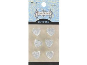 13mm Clear Glitzy Gem Heart Buttons with Shank