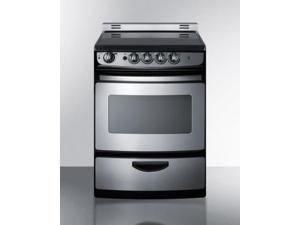 """Summit  REX245SSRT 24"""" Slide In Electric Range with 3 cu. ft. Oven  Smooth Ceramic Glass Top  Waist-High Broiler  4"""