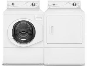 "Speed Queen  White Front Load Laundry Pair with AFN50RSP 27"" Washer and ADG3SRGS 27"" Gas Dryer"
