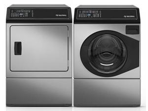 """Speed Queen  Stainless Steel Front Load Laundry Pair with AFNE9BSS 27"""" Washer and ADEE9BSS 27"""" Electric Dryer"""