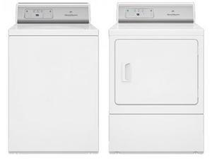 "Speed Queen  White Top Load Laundry Pair with AWNE82SP 26"" Washer and ADEE8RGS 27"" Electric Dryer"