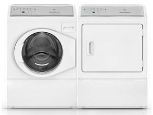 "Speed Queen  White Front Load Laundry Pair with AFNE9BSW 27"" Front-Load Washer and ADGE9BGS 27"" Gas Dryer"