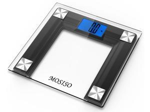 """Mosiso® High Accuracy Digital Bathroom Scale with 4.3"""" Blue Backlight Display and """"Smart Step-On"""" Technology"""