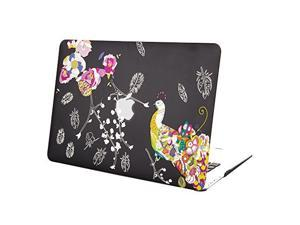 """MacBook Air 13 Case, Mosiso Peacock Pattern AIR 13-inch Soft-Touch Plastic Hard Case Cover for Apple MacBook Air 13.3"""" (A1466 & A1369) (Black)"""