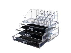 NuVita Acrylic Makeup Cosmetic Organizer Jewelry and Cosmetic Storage Display Boxes - 2Pcs Set