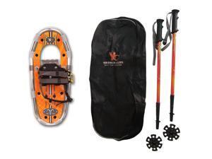 Yukon Charlie's Junior Aluminum Snowshoe Kit w/ Poles & Carrying Bag - Orange