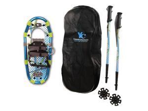 Yukon Charlie's Junior Aluminum Snowshoe Kit w/ Poles & Carrying Bag - Blue