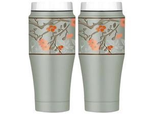 Thermos Vacuum Insulated Stainless Steel Double Wall Travel Tumbler 16 oz - 2 Pack, Cherry Blossom