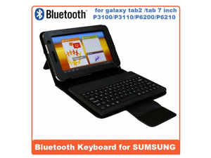 AIYZE For Samsung Galaxy Tab2 /Tab 7 inch P3100/P3110/P6200/P6210 Waterproof Silicone Detachtable Wireless Bluetooth keyboard Case High Quality Anti-Dust Plastic -Black