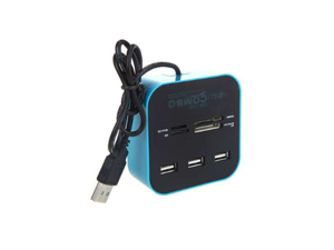 All in One Multi-card Reader with 3 Ports USB 2.0 Hub Combo for SD/MMC/M2/MS