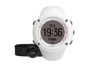 Suunto SS021258000 Ambit3 Run White (HR) Digital Display Quartz Watch, White Silicone Band, Round 50mm Case