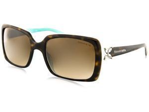 Tiffany TF4047B 81343B Victoria Sunglasses, Top Havana/Blue Frame, Brown Gradient 55mm Lenses