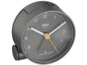 Braun BNC001GYGY Analog Display Quartz Alarm Clock, Round 69mm Case, Gray
