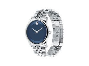 New Movado 174-0606982 Museum Classic Analog Display Quartz Watch, Silver Stainless Steel Band, Round 40mm Case