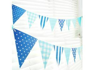 Flags banners, Birthday Paper Flag Banner Party Garland - 10 Feet Outdoor House Decorative Triangle Flags Banners - 12 pcs flags (Blue)