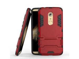 Olen Armor Series ZTE AXON 7 Case TPU and PC 2 in 1 Kickstand Protective Cover Finish Case for ZTE AXON 7 (Red)