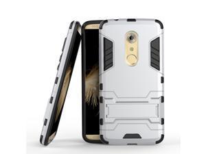 Olen Armor Series ZTE AXON 7 Case TPU and PC 2 in 1 Kickstand Protective Cover Finish Case for ZTE AXON 7 (Silver)