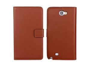 MOONCASE Cowskin Flip Leather Wallet Card Pouch Stand Back Case Cover For Samsung Galaxy Note 2 N7100 Brown