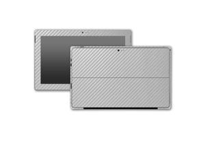 Silver Carbon Fiber Microsoft Surface Pro 3 Skin/Stickers/Decal Stickerboy- Front, Back, Sides (2 complete side wraps), Type Cover Keyboard & Bottom
