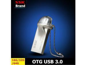 SSK SFD247 OTG USB 3.0 Flash Drives 100% 64G Smart Phone Tablet PC External Storage Micro Pen Drive Memory Usb Stick