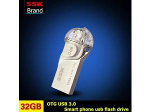 SSK Tiger Shark OTG USB 3.0 100% 32GB USB Flash Drive OTG Smartphone Pen Drive Micro USB Portable Storage Memory Metal USB Stick