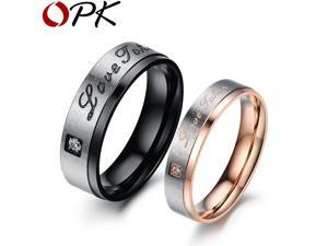 OPK LOVE TOKEN Fashion Black Steel Couple Ring Fashion Cubic Zirconia Diamond Crystal Women Men Weddding Jewelry GJ416
