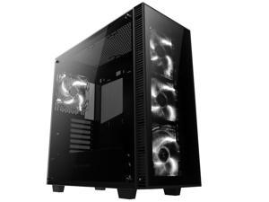 anidees Tempered Glass Mid Tower Gaming Computer Case, Compatible with E-ATX, M/B - AI-Crystal Black