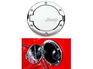 Chrome Silver Fuel Filler Tank Cap Gas Cover Fits Jeep Wrangler JK Rubicon Sahara & Unlimited 2007-2015