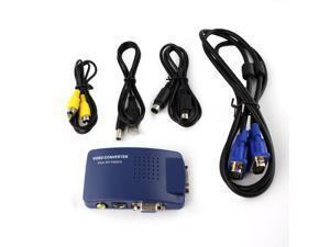 TB Blue PC MAC VGA to TV AV Composite RCA S-Video Converter Box USB HOT POP US 1