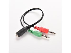3.5mm Female to 2 Dual Male Jack Plug Audio Stereo Headset Mic Splitter Cable