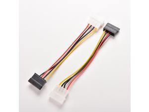 2X 4-Pin IDE Molex to 15-Pin Serial ATA SATA Hard Drive Power Adapter Cable