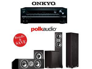 Onkyo TX-NR747 7.2-Ch Receiver + Polk TSi Bundle (TSi 300, TSi 100, and CS10)