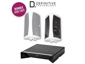 Definitive Technology W Amp Amplifier + AW 6500 Outdoor Speakers (Pair, White)
