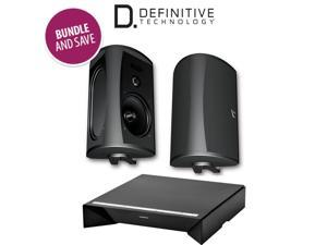 Definitive Technology W Amp Amplifier + AW 6500 Outdoor Speakers (Pair, Black)