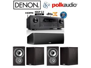 Denon AVR-X1300W Receiver Bundle with (4) Polk Audio TSi100 and (1) CS10