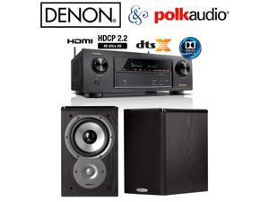 Denon AVR-X1300W Receiver Bundle with Polk Audio TSi100 Bookshelf Speakers