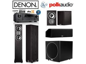 Denon AVR-X1300W Bundle w/ Polk (2) TSi300 (2) TSi100 (1) CS10 (1) PSW125