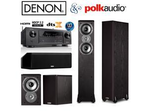 Denon AVR-X1300W Receiver Bundle with Polk Audio (2) TSi300 (2) TSi100 (1) CS10