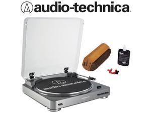 Audio-Technica AT-LP60 Turntable in Silver Bundled with RCA RD-1006 Kit