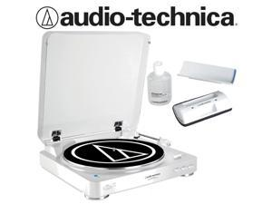 Audio-Technica AT-LP60-BT Turntable in White Bundled with AT6012 Record Care Kit