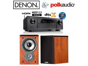 Denon AVR-X1300W Receiver Bundle with Polk TSi100 Bookshelf Speakers in Cherry