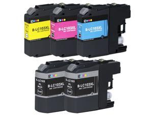E-Z Ink ™ Compatible Ink Cartridge Replacement For Brother LC-103 LC-103XL LC103XL LC 103 XL High Yield (5) Pack (2 Black, 1 Cyan, 1 Magenta, 1 Yellow) LC103BK LC103C LC103M LC103Y