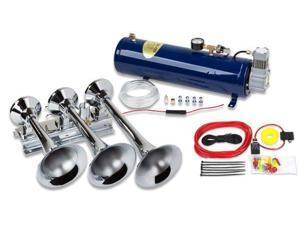 Full-Size Triple Train Air Horn - All Metal with 130 PSI Compressor and Air Tank