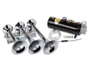 Train Air Horn Kit&#59; Three Oversize Flat-Rack Trumpets, 110 PSI Compressor & Tank