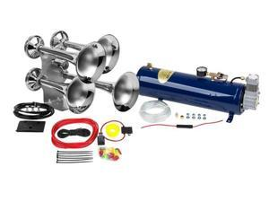 Train Air Horn Kit&#59; Four Oversize Trumpets, 12-Volt w/130 PSI Compressor & Tank